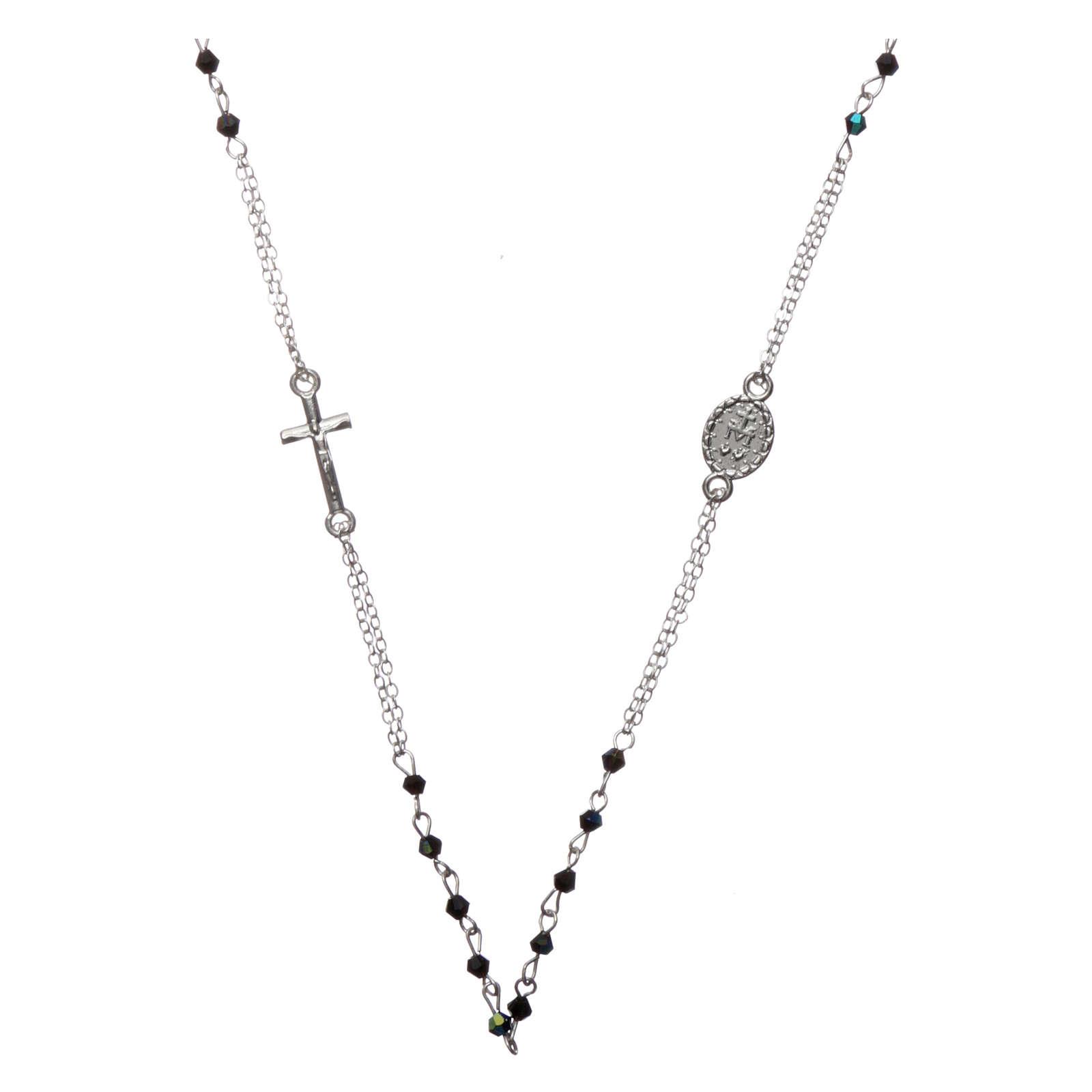Chapelet collier semi-cristal grains à facettes 1 mm noir 4