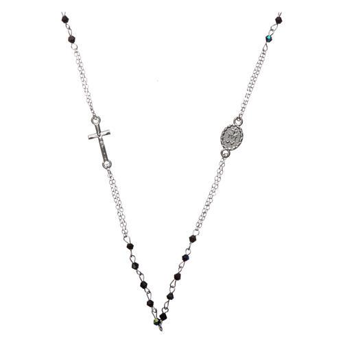 Chapelet collier semi-cristal grains à facettes 1 mm noir 2
