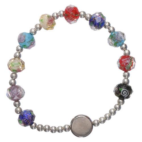 Bracelet dizainier élastique semi-cristal multicolore Pape François grains à facettes roses 2