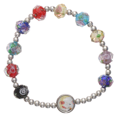 Single decade rosary elastic bracelet multicolored faceted beads of crystal with rose Pope Francis 1