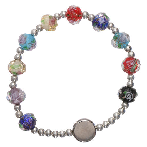 Single decade rosary elastic bracelet multicolored faceted beads of crystal with rose Pope Francis 2