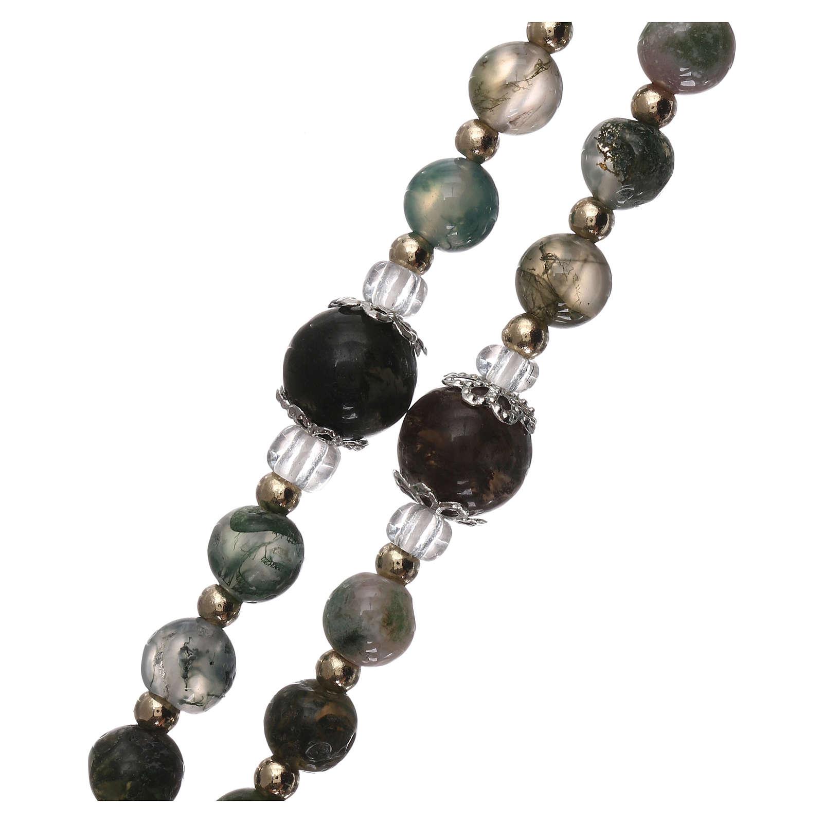 Chapelet grains verre avec perles dorés 4