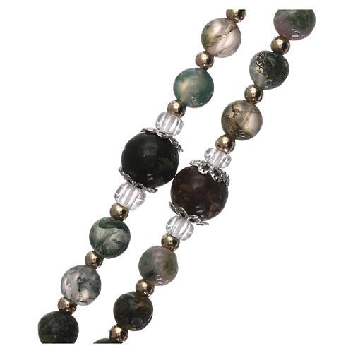 Chapelet grains verre avec perles dorés 3