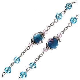 Rosario perle decorate Madonna con bambino cristallo azzurro 3 mm s3