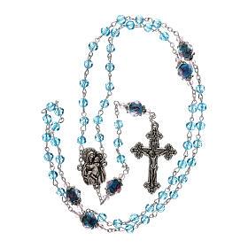 Rosario perle decorate Madonna con bambino cristallo azzurro 3 mm s4