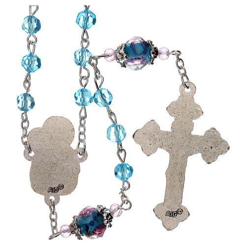 Rosario perle decorate Madonna con bambino cristallo azzurro 3 mm 2