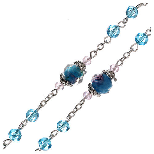 Rosario perle decorate Madonna con bambino cristallo azzurro 3 mm 3