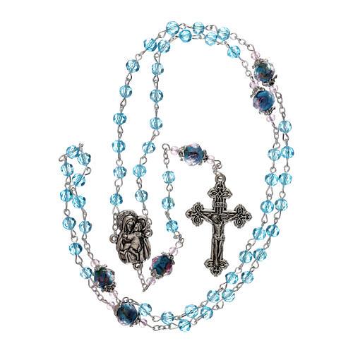 Rosario perle decorate Madonna con bambino cristallo azzurro 3 mm 4