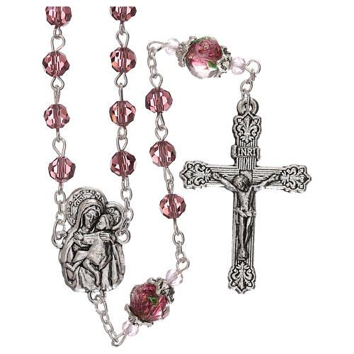 Rosario perla decorada Virgen Jesús niño cristal marrón 3 mm 1