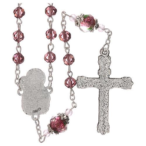 Rosario perla decorada Virgen Jesús niño cristal marrón 3 mm 2