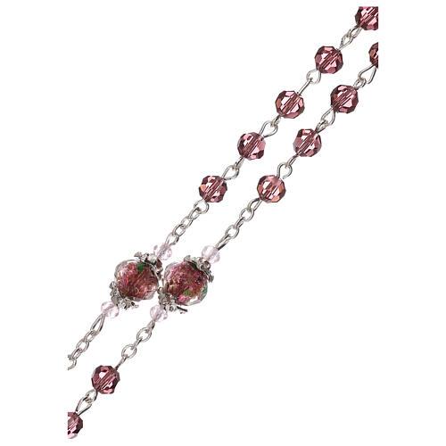 Rosario perla decorada Virgen Jesús niño cristal marrón 3 mm 3