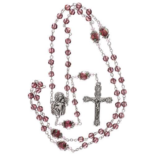 Rosario perla decorada Virgen Jesús niño cristal marrón 3 mm 4