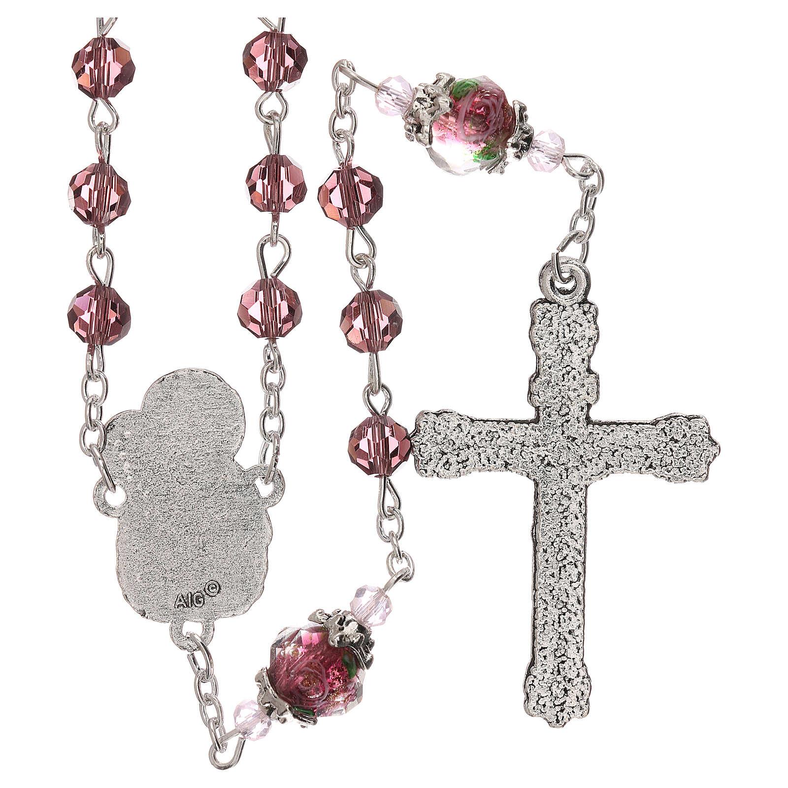 Rosario perla decorata Madonna Gesù bambino cristallo marrone 3 mm 4