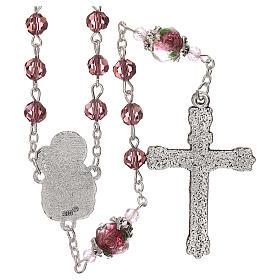 Rosario perla decorata Madonna Gesù bambino cristallo marrone 3 mm s2