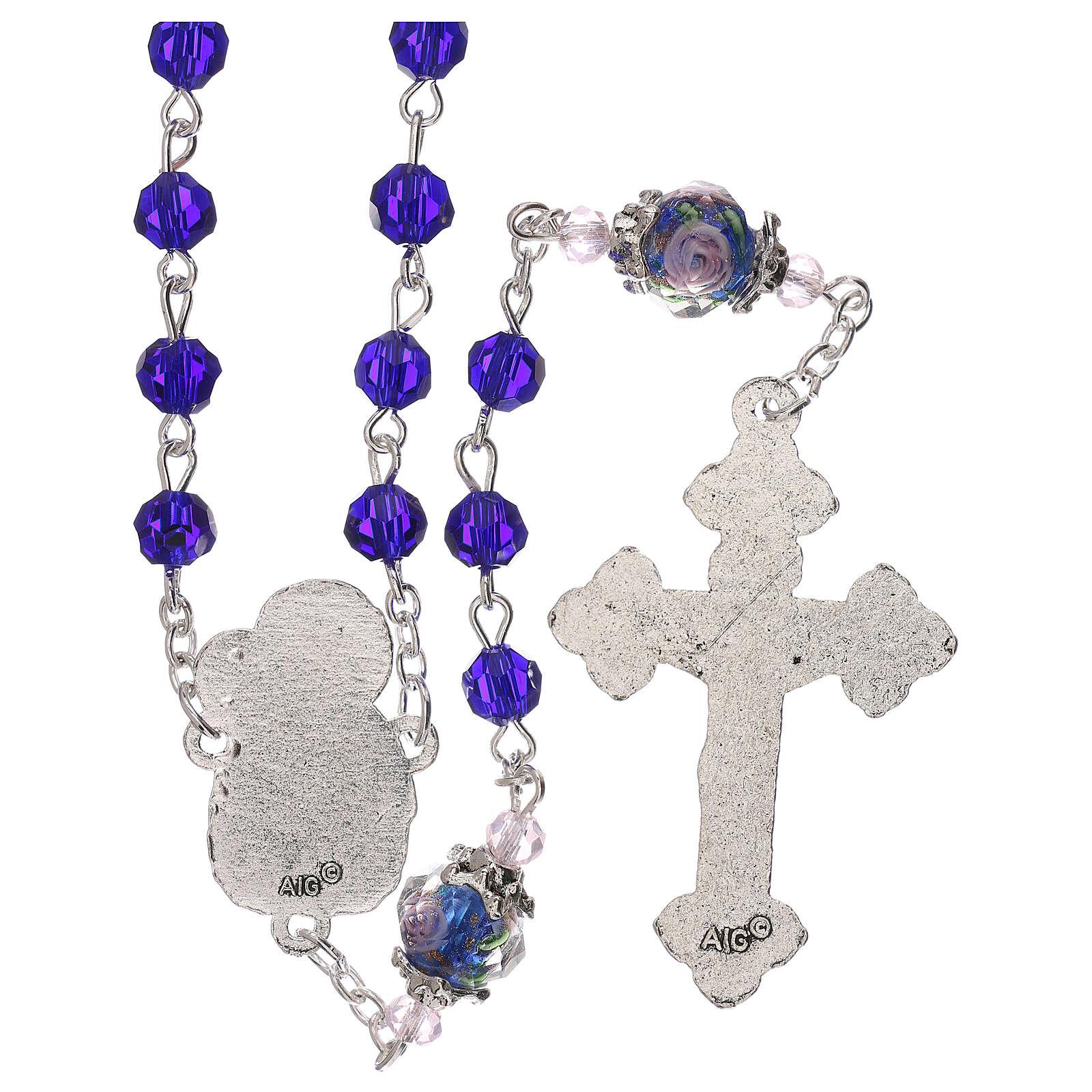 Chapelet grains décorés Vierge à l'Enfant cristal marron 3 mm 4