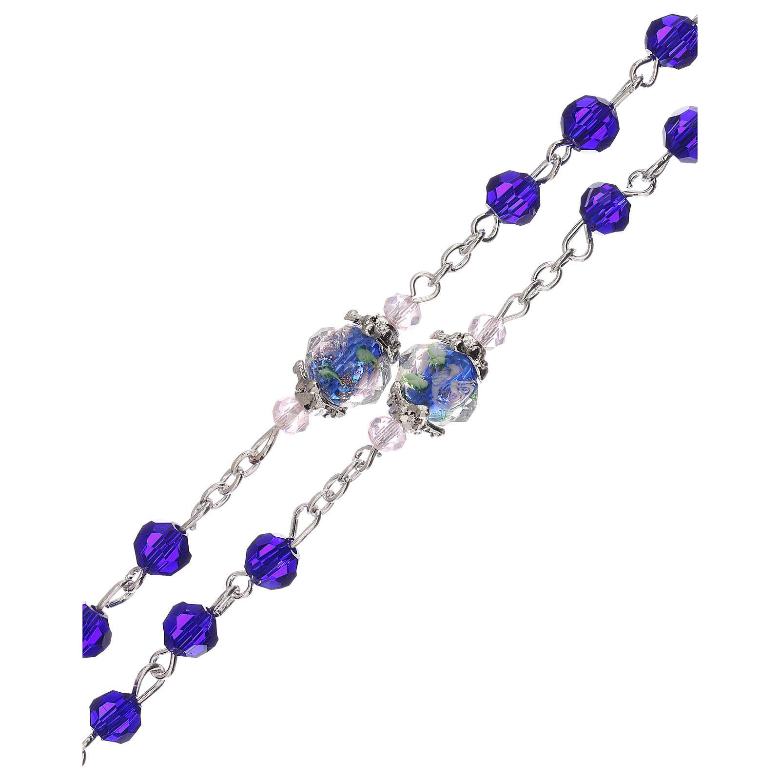 Rosario Madonna con Bambino perla decorata cristallo blu 3 mm 4