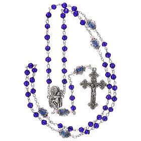 Rosario Madonna con Bambino perla decorata cristallo blu 3 mm s4