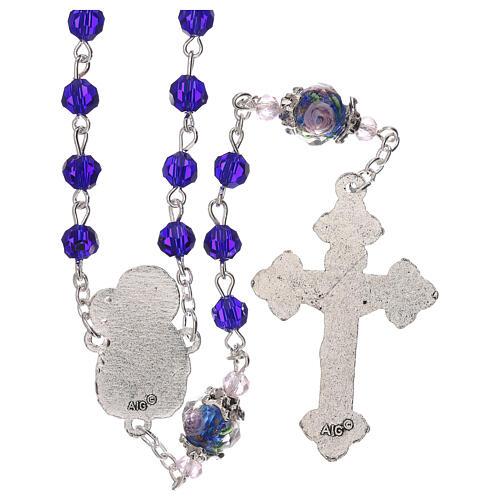 Rosario Madonna con Bambino perla decorata cristallo blu 3 mm 2