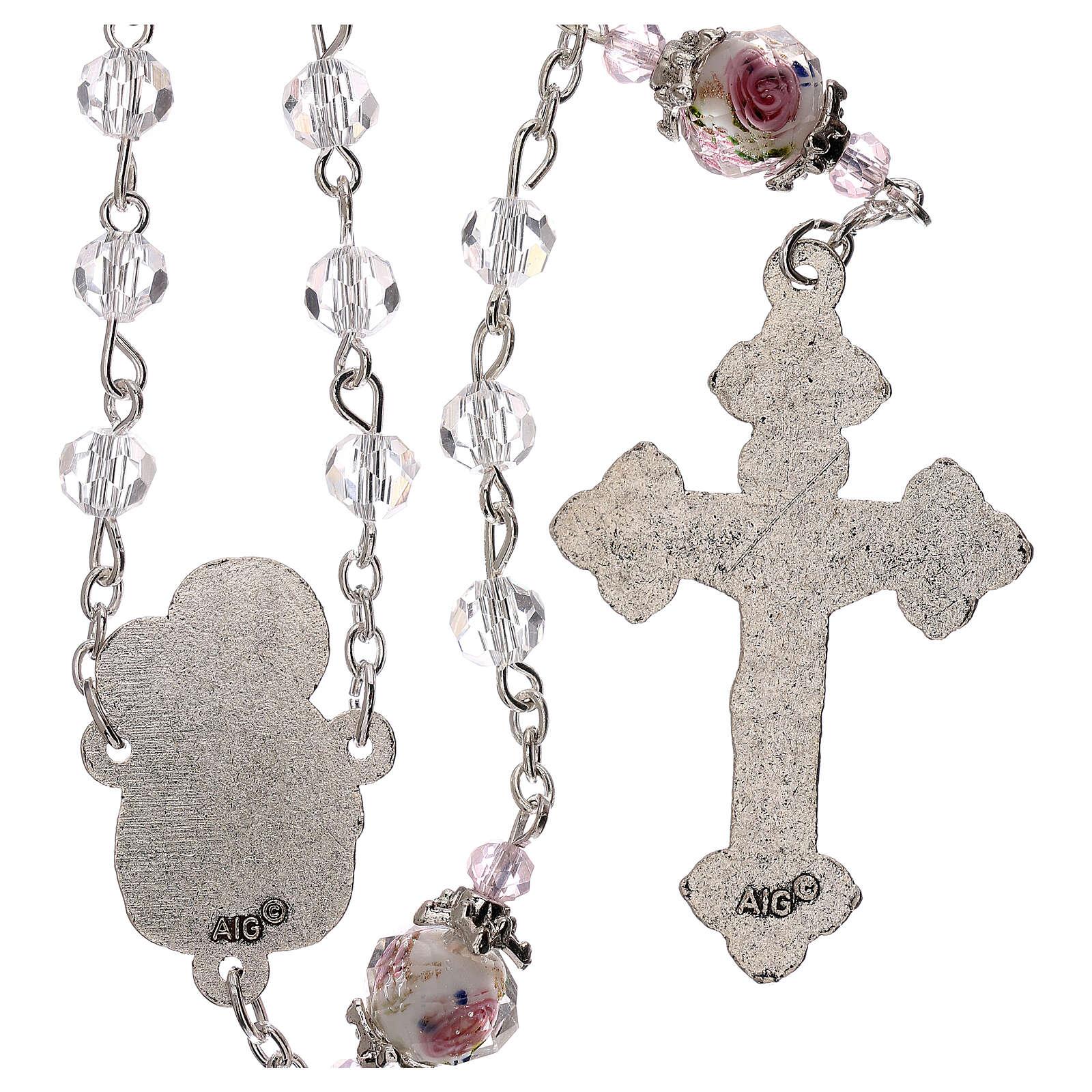 Rosario Virgen Jesús niño perla decorada cristal transparente 3 mm 4