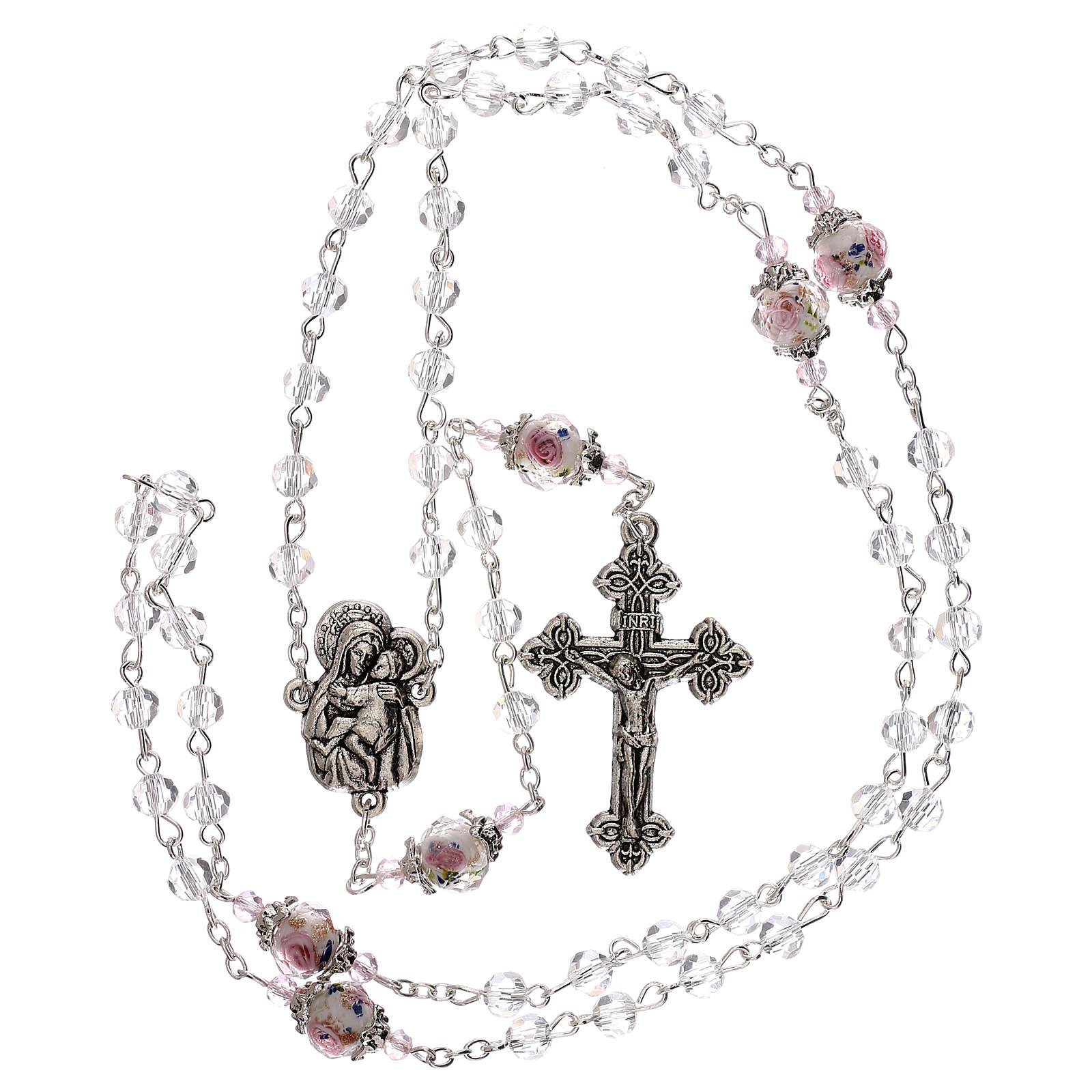 Rosario Madonna Gesù bambino perla decorata cristallo trasparente 3 mm 4