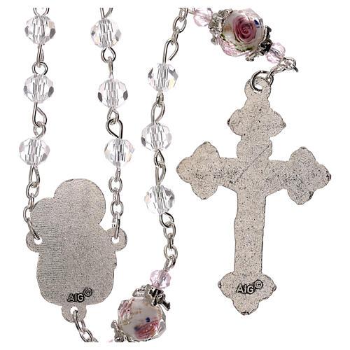 Rosario Madonna Gesù bambino perla decorata cristallo trasparente 3 mm 2