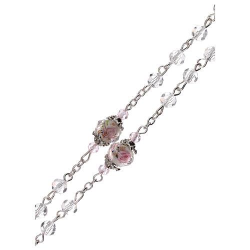 Rosario Madonna Gesù bambino perla decorata cristallo trasparente 3 mm 3