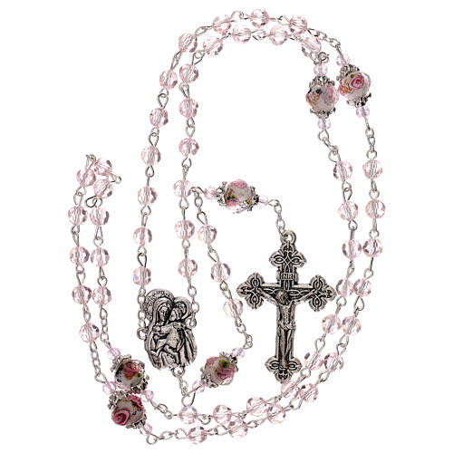 Rosario perla decorada Virgen verdadero cristal rosa 3 mm 4