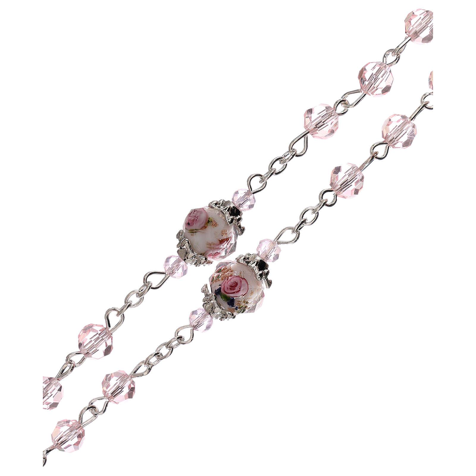 Chapelet grains décorés Sainte Vierge cristal véritable rose 3 mm 4