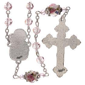 Chapelet grains décorés Sainte Vierge cristal véritable rose 3 mm s2