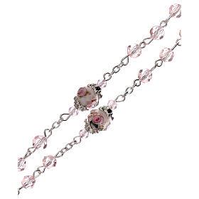 Chapelet grains décorés Sainte Vierge cristal véritable rose 3 mm s3