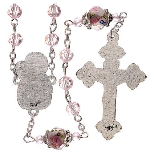 Chapelet grains décorés Sainte Vierge cristal véritable rose 3 mm 2