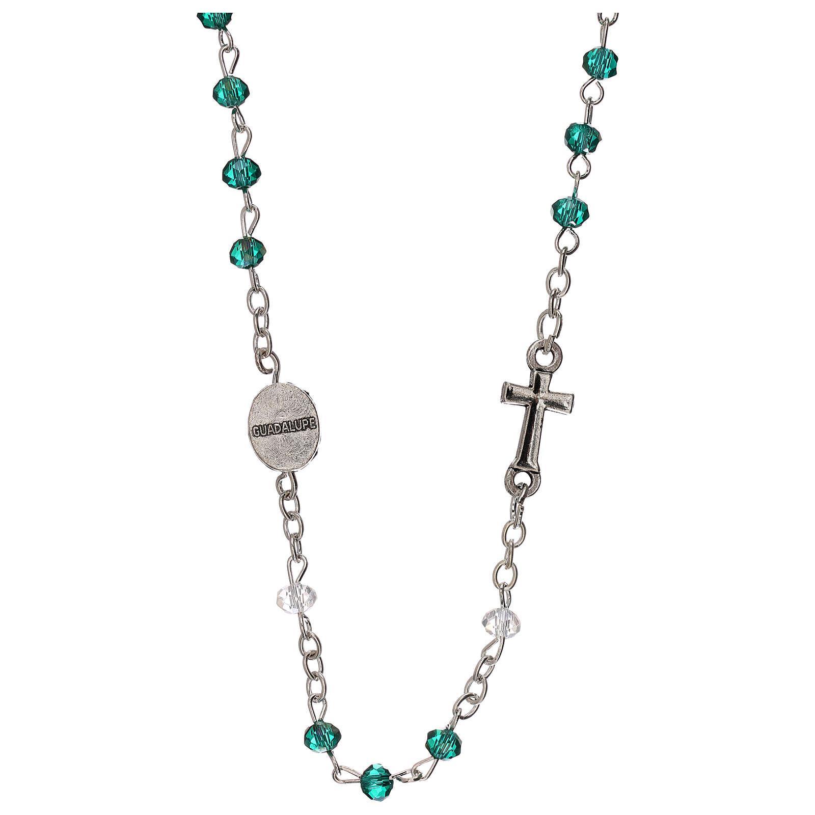 Chapelet tour de cou Notre-Dame de Guadalupe cristal véritable 3 mm 4