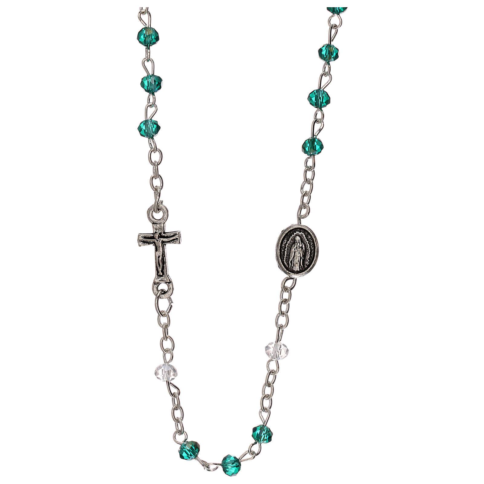 Rosario girocollo Madonna Guadalupe vero cristallo 3 mm 4