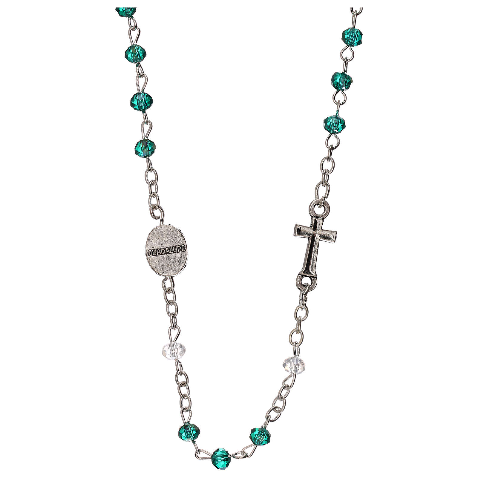 Rosary choker Our Lady of Guadalupe real crystal 3 mm 4
