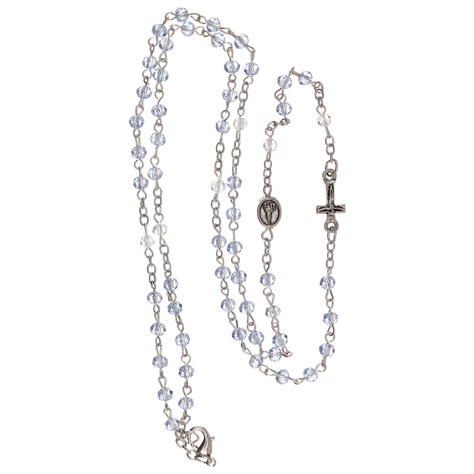 Rosario girocollo Madonna di Fatima vero cristallo 3 mm 4
