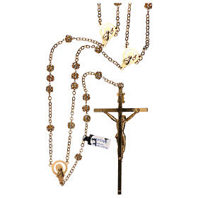 Golden wedding rosary with crystal grains 5 mm s2