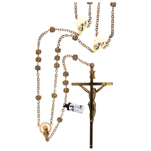 Golden wedding rosary with crystal grains 5 mm 2