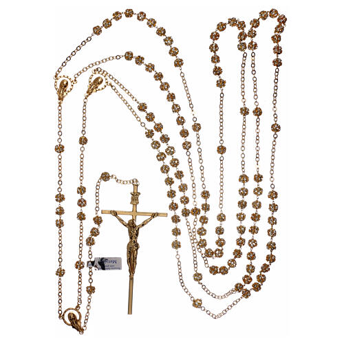 Golden wedding rosary with crystal grains 5 mm 5
