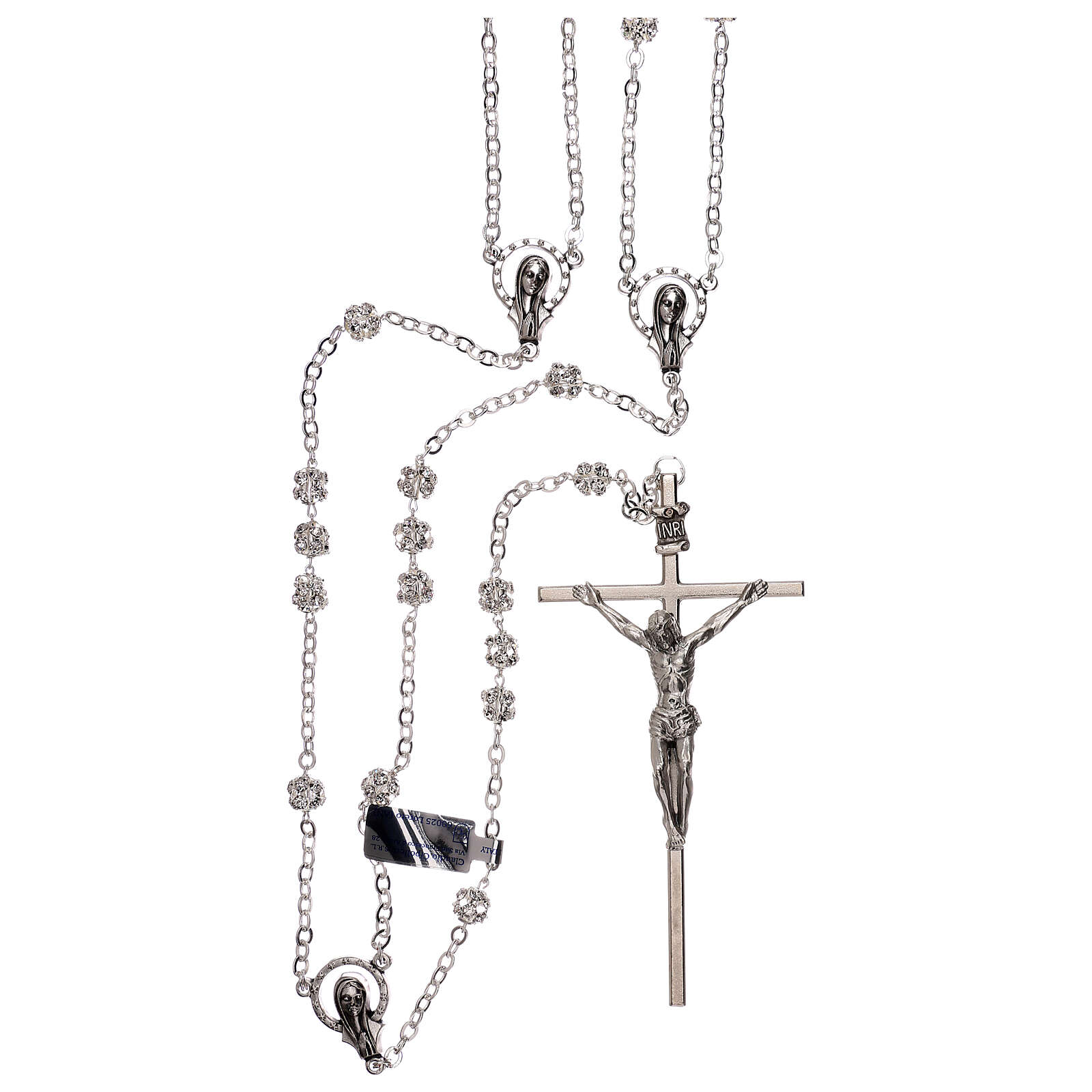 Silver wedding rosary with crystal beads 5 mm 4