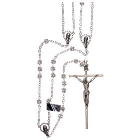 Silver wedding rosary with crystal beads 5 mm s1