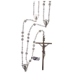 Silver wedding rosary with crystal beads 5 mm s2