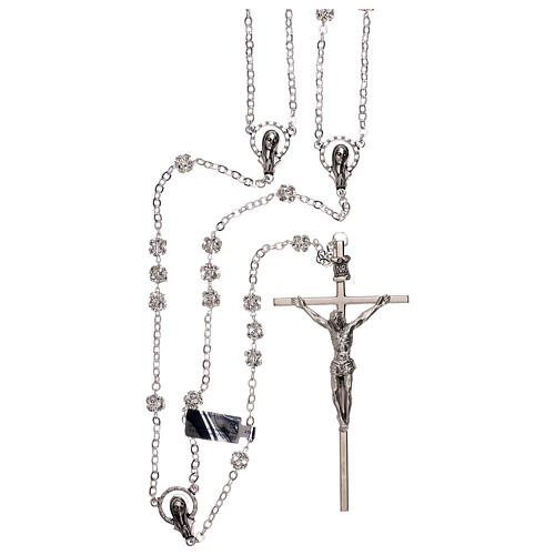Silver wedding rosary with crystal beads 5 mm 1