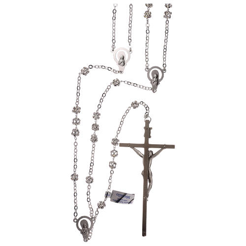 Silver wedding rosary with crystal beads 5 mm 2