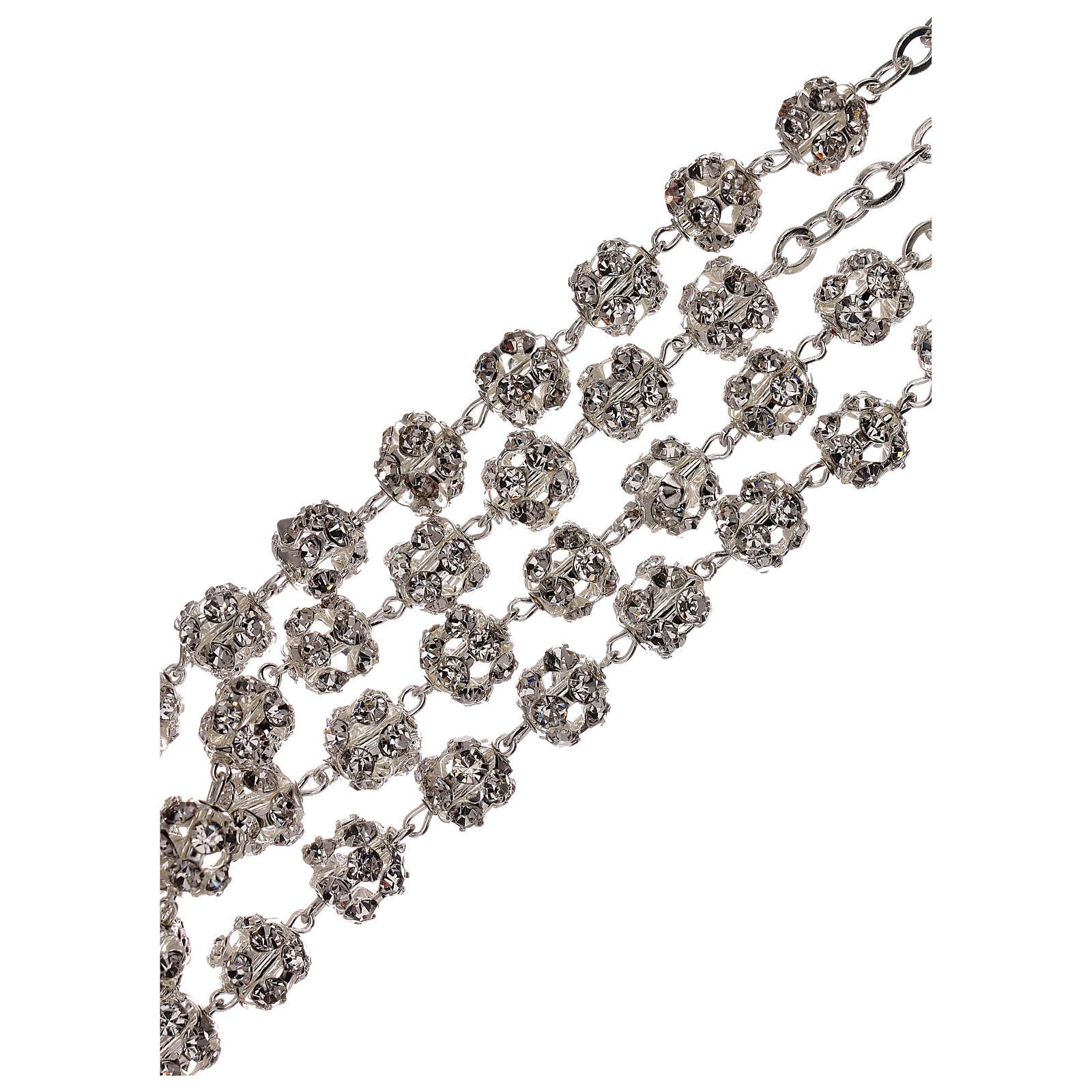 Rosario boda plateado granos cristal 5 mm 4