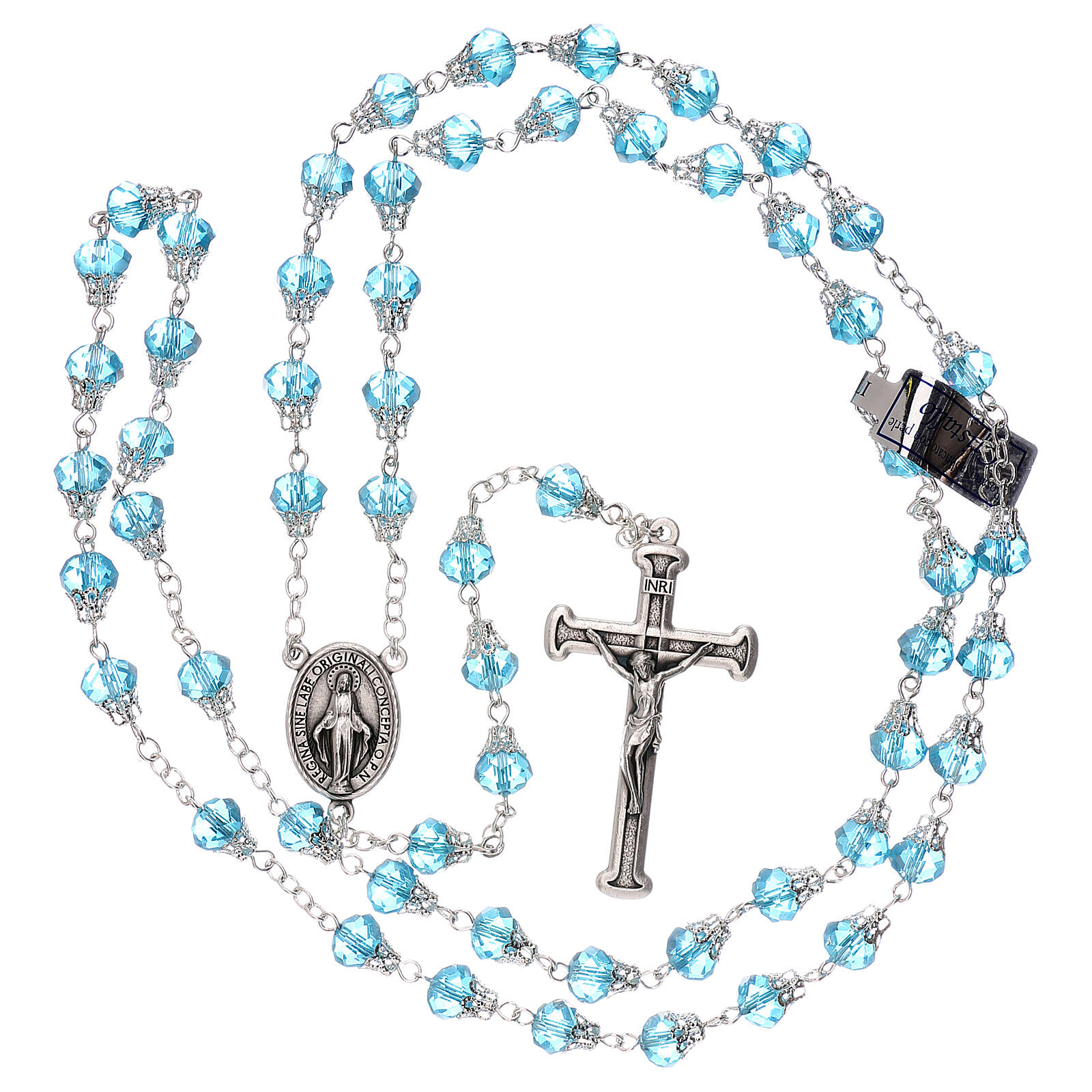 Rosary with glossy light blue beads 7 mm 4