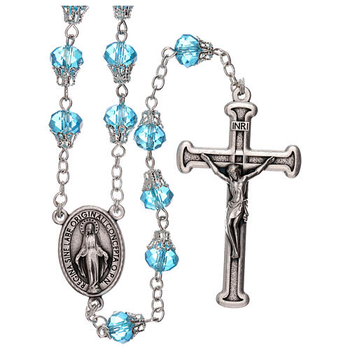 Rosary with glossy light blue beads 7 mm 1