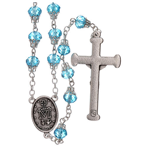 Rosary with glossy light blue beads 7 mm 2