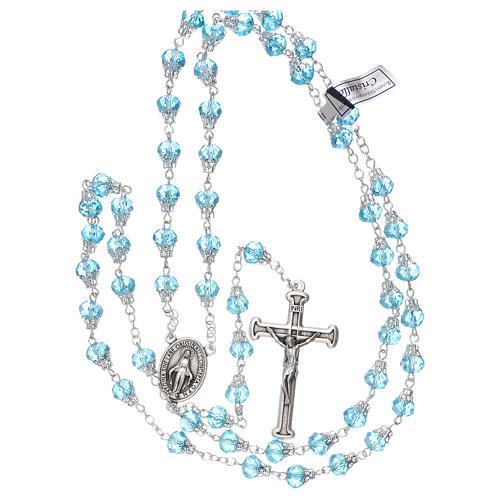 Chapelet bleu clair brillant cristal grains 5 mm 4