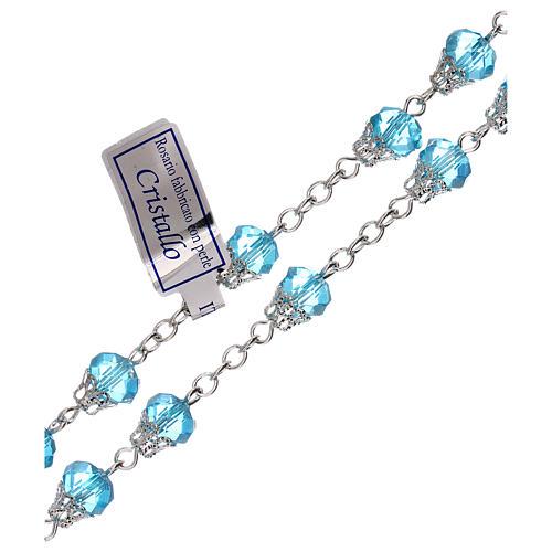 Rosario azzurro lucido cristallo grani 5 mm 3