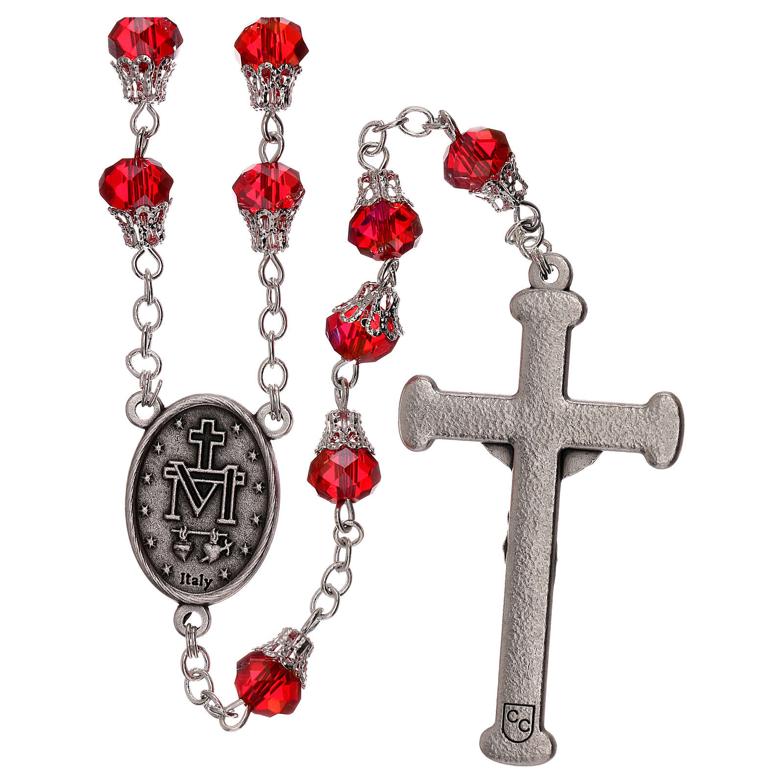 Rosary with glossy red beads 7 mm 4